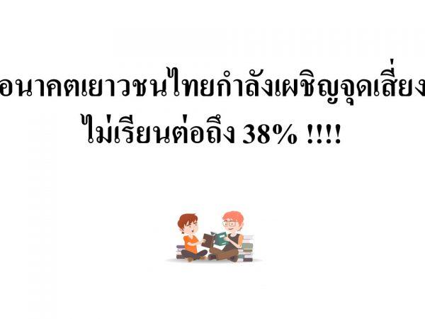อนาคตเยาวชนไทยกำลังเผชิญจุดเสี่ยง ไม่เรียนต่อถึง 38%