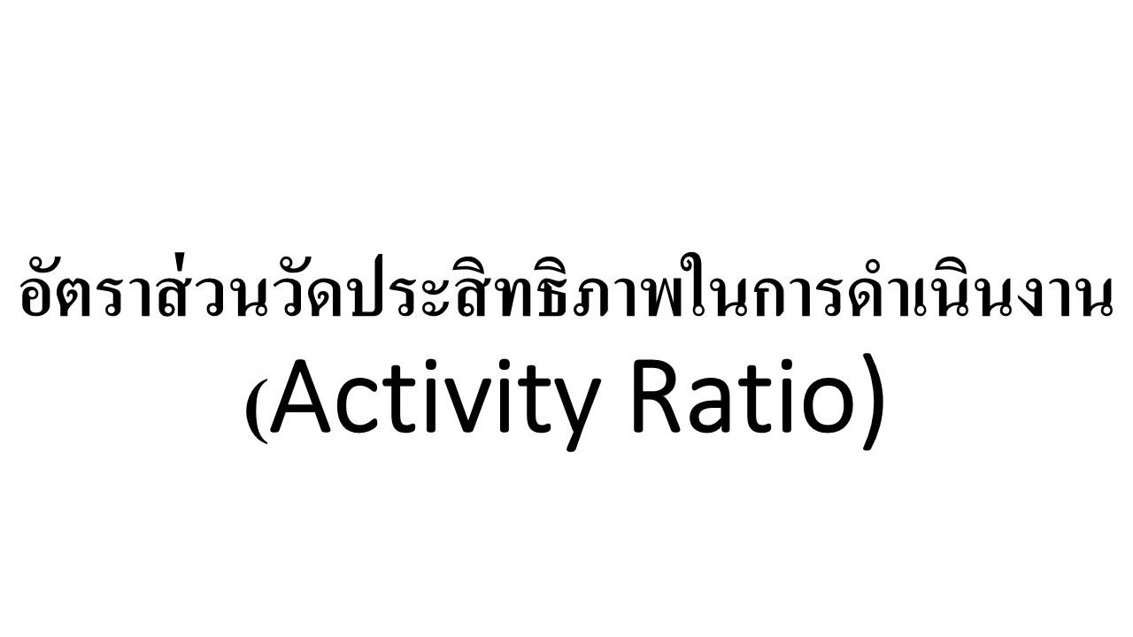 อัตราส่วนวัดประสิทธิภาพในการดำเนินงาน (Activity Ratio)